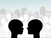Samiec i kobiety profilu tłum royalty ilustracja
