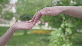 Samiec i kobiety ręki dotyka each inny w przedpolu w górę Piękny zieleń park na tle leisure zdjęcie wideo