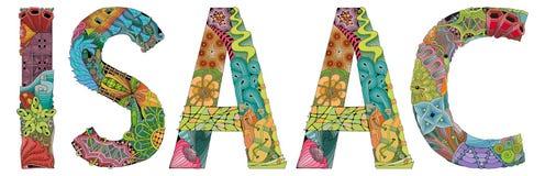 Samiec imię Isaac Wektorowy dekoracyjny zentangle przedmiot ilustracji