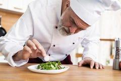 Samiec kucbarski szef kuchni dekoruje garnirowanie przygotowywa? sa?atkowego naczynie na talerzu w restauracyjnej handlowej kuchn zdjęcie stock