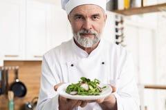 Samiec kucbarski szef kuchni dekoruje garnirowanie przygotowywa? sa?atkowego naczynie na talerzu w restauracyjnej handlowej kuchn zdjęcia stock