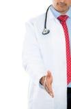 Samiec lekarka daje jego ręce dla uścisku dłoni Zdjęcie Stock