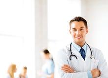 Samiec lekarka z stetoskopem Zdjęcie Stock