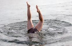 Samiec nogi spod wody Fotografia Stock