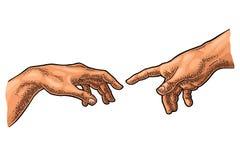 Samiec palec wskazuje dotyka boga rękę Tworzenie Adam royalty ilustracja