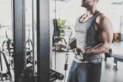 Samiec ręki ćwiczy na triceps w gym fotografia stock