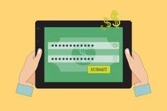 Samiec ręki Używać Online bankowość Obrazy Royalty Free
