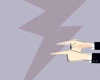 Samiec ręki z wskazywać palce kierujących outside również zwrócić corel ilustracji wektora Pojęcie argumentowanie, oskarżenie, bi Zdjęcia Stock