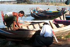 Samiec remontowa tradycyjna łódź Obraz Stock