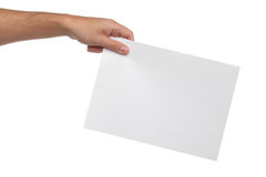 Samiec wręcza trzymać pustego papier odizolowywa Fotografia Royalty Free