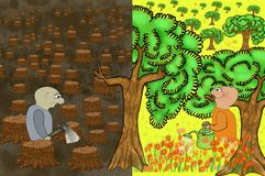 Samiec z cioską w lasowej zemscie natura Ponury krajobraz powalać drzewni bagażniki Pojęcie ekologia z drzewnym tłem ilustracji