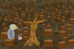 Samiec z cioską w lasowej zemscie natura Ponury krajobraz powalać drzewni bagażniki Pojęcie ekologia z drzewnym tłem royalty ilustracja