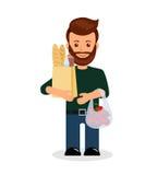 Samiec z zakupy Odosobniony charakter mężczyzna z torbą sklepy spożywczy royalty ilustracja
