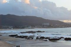 Samil beach, Vigo Spain. Rock. Samil beach at sunrise with big clouds in the sky Vigo Spain Royalty Free Stock Photos