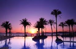 Samil beach in Vigo, Spain. Sunset on the beach of Samil in Vigo, Spain Royalty Free Stock Photography