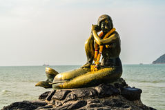 Samila Beach Songkhla. Samila Beach is an icon of the city of Songkhla, famous symbol is a golden statue of a mermaid Royalty Free Stock Photography