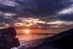 Samila Beach in Songkhla at volcanic rocks. Sunrise Beach View Samila songkhla Stock Image