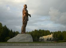 Samjiyon Grand Monument near Samji Lake, North Korea. Samjiyon Grand Monument near Samji Lake, showing Kim Il Sung and his revolutionary fighters, to royalty free stock photos