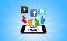 Samkvämnätverk på smartphonen stock illustrationer