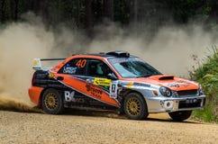 Samla bilen på Rally Victoria 2014 fotografering för bildbyråer