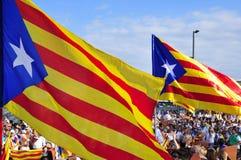 Samla i service för självständigheten av Catalonia i Barcelona, Royaltyfria Foton