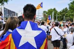 Samla i service för självständigheten av Catalonia i Barcelona, Royaltyfri Bild