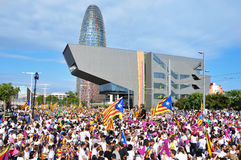 Samla i service för självständigheten av Catalonia i Barcelona, Arkivfoton