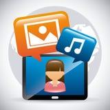 samla ihop kommunikationsbegreppskonversationer som har medelfolksamkväm Fotografering för Bildbyråer