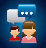 samla ihop kommunikationsbegreppskonversationer som har medelfolksamkväm Royaltyfri Fotografi