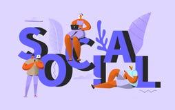 samla ihop kommunikationsbegreppskonversationer som har medelfolksamkväm Folk som pratar i socialt nätverk vektor illustrationer