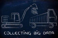 Samla stora data: rolig grävare och lastbil som utarbetar binärt c arkivfoto
