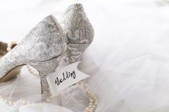 Samlade brud- skor med halsbandet Royaltyfria Bilder