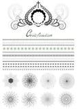 Samlade rundaramar och gränser för dekorsidor Arkivfoto