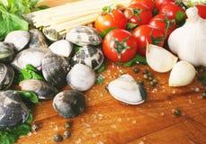 samlar musslor spagetti royaltyfria bilder