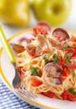 samlar musslor spagetti Arkivbilder