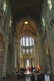 Samlas på domkyrkan av abbotskloster av Mont Saint Michel. Arkivbilder