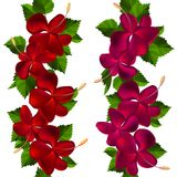 Samless border made of hibiscus flowers Stock Image