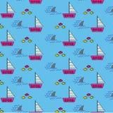 Samless deseniuje tło z żeglowanie łodzi rekinu rybami i żebrami royalty ilustracja