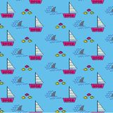 Seamless pattern background with sailing boats shark fins and fishes royalty free illustration