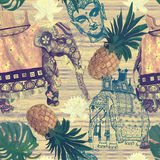 Samless pattern in vintage style with indian Royalty Free Stock Photography