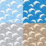 Samless patterns with waves Stock Images