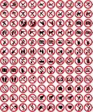 samling 4 inget tecken undertecknar vektorn Arkivfoto