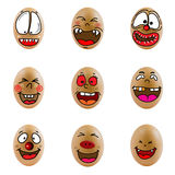 Samling av ägg med den lyckliga framsidan (no.1) Arkivbild