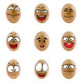 Samling av ägg med den lyckliga framsidan (no.3) Royaltyfri Foto