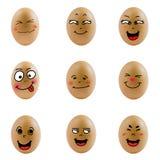 Samling av ägg med den lyckliga framsidan (no.4) Fotografering för Bildbyråer