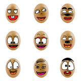 Samling av ägg med den lyckliga framsidan (no.7) Royaltyfria Bilder