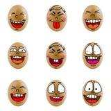 Samling av ägg med den lyckliga framsidan (no.8) Fotografering för Bildbyråer