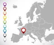 Samling av översiktspekare med översikten av Europa royaltyfri illustrationer