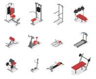 Samling av övningsmaskinen för idrottshallen stock illustrationer