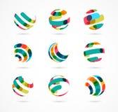 Samling av abstrakta färgrika affärssymboler arkivbild